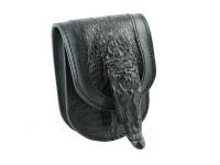 Изделия из питона.  Чехол на ремень из кожи крокодила с головой крокодильчика CHK-011-2.